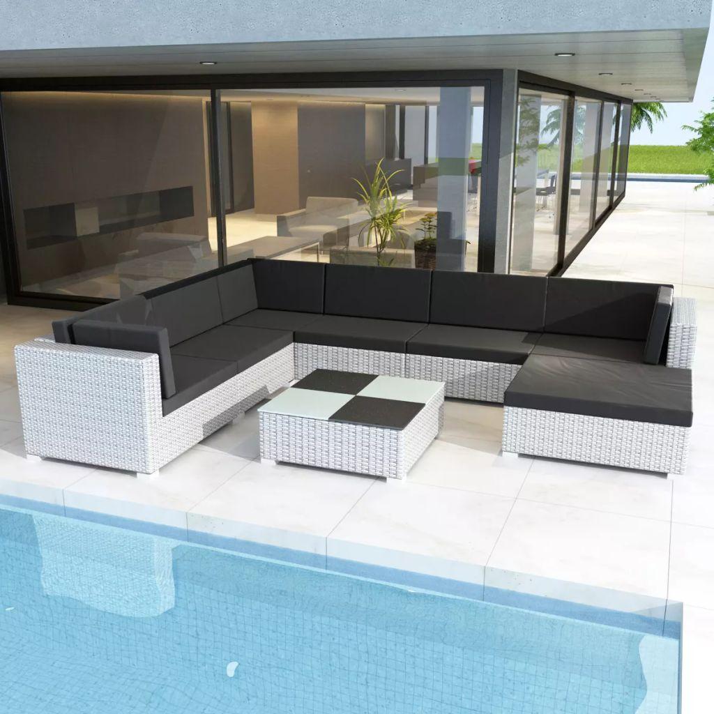 Dès 519.90€, Salon de jardin blanc en rotin pour 7 personnes -  Interougehome.com