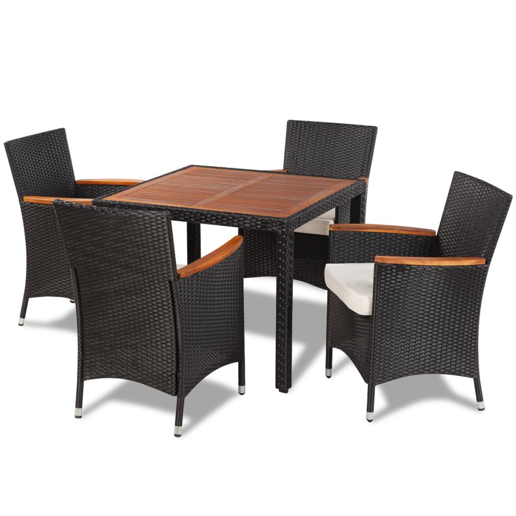 table de jardin avec plateau en bois et 4 chaises en polyrotin interougheome. Black Bedroom Furniture Sets. Home Design Ideas