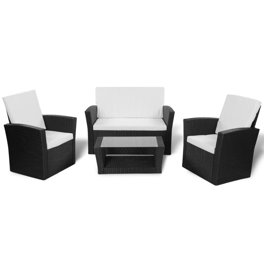 d s salon de jardin en polyrotin marron avec coffre de rangement. Black Bedroom Furniture Sets. Home Design Ideas