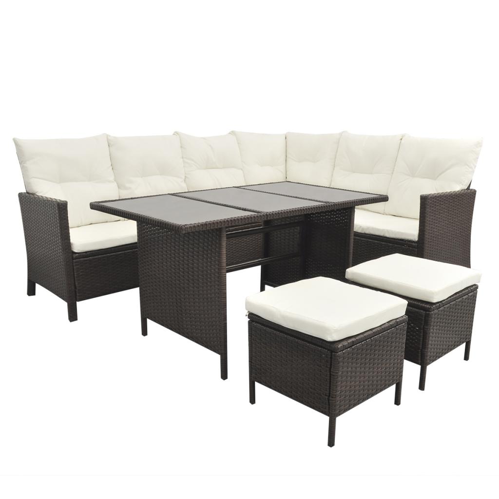 salon de jardin en polyrotin marron 8 personnes. Black Bedroom Furniture Sets. Home Design Ideas