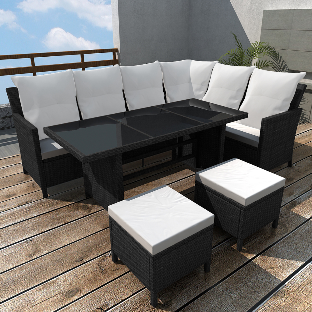 salon de jardin en polyrotin noir 8 personnes. Black Bedroom Furniture Sets. Home Design Ideas