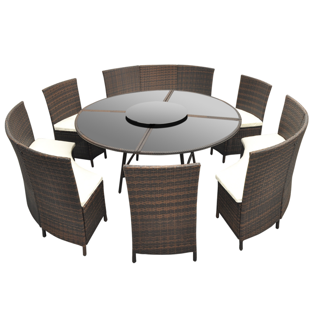 Salon de jardin marron en polyrotin table ronde et chaises - Salon de jardin modulable siena polyrotin ...