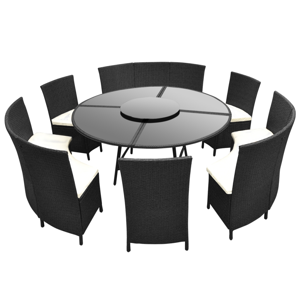 Salon de jardin noir - table ronde et chaises 12 pers. | Interougehome