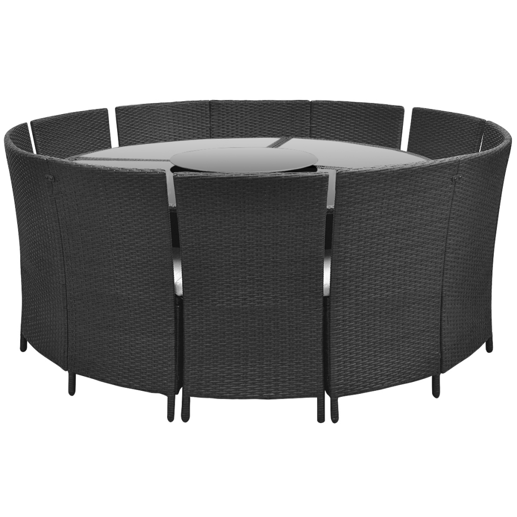 Salon de jardin noir - table ronde et chaises 12 pers.