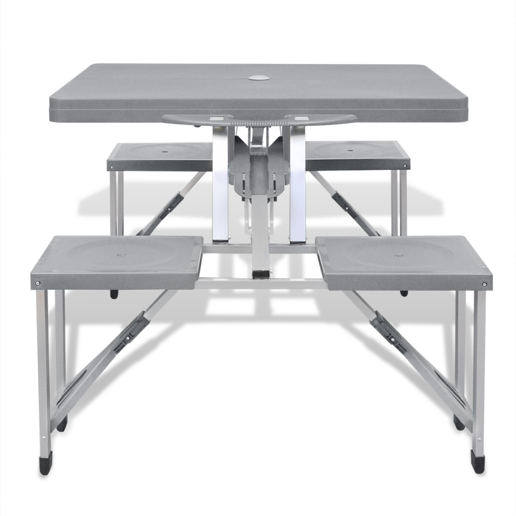 Table de camping pliable avec 4 tabourets aluminium interougehome - Table de jardin aluminium pliable ...