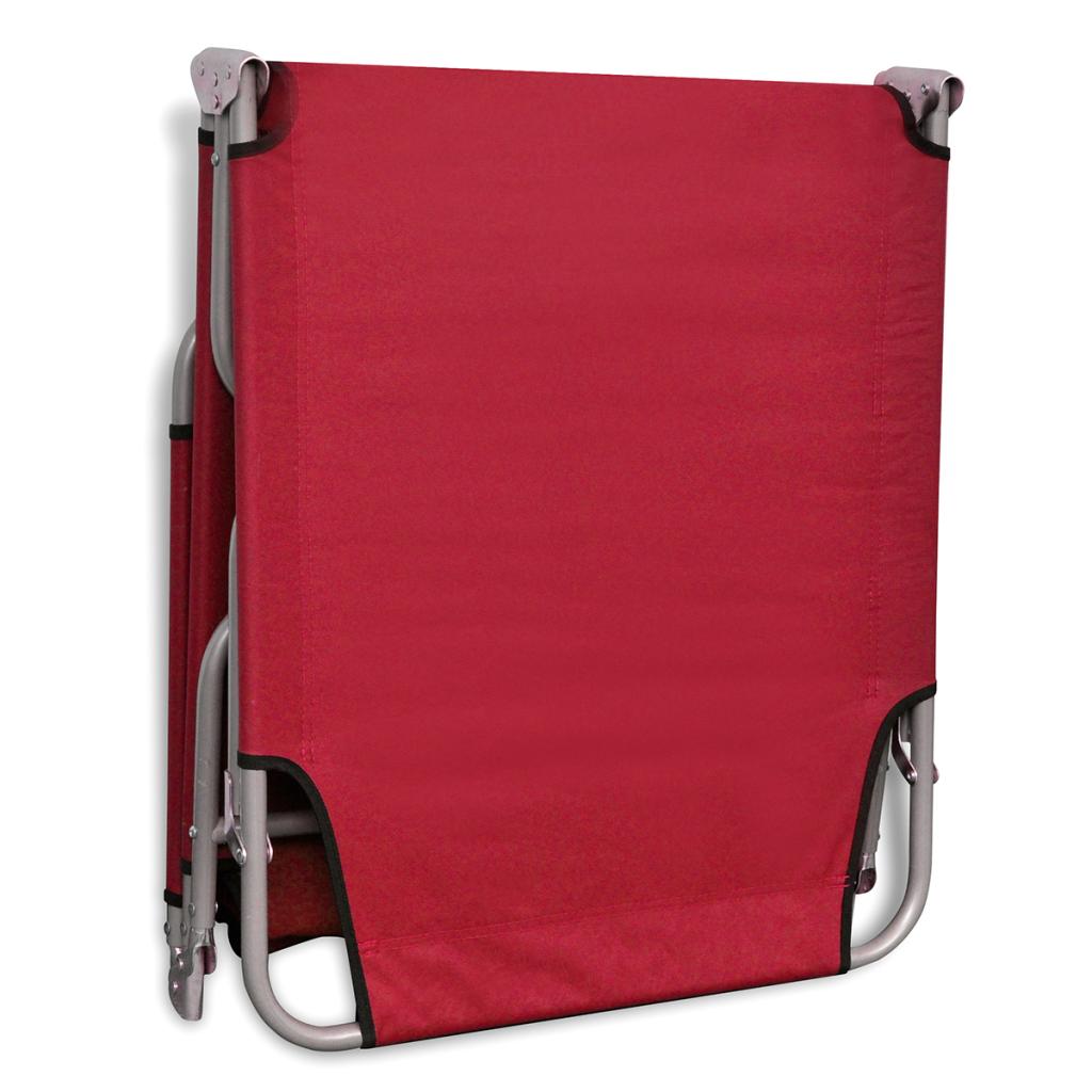 bain de soleil rouge pliable avec dossier ajustable. Black Bedroom Furniture Sets. Home Design Ideas