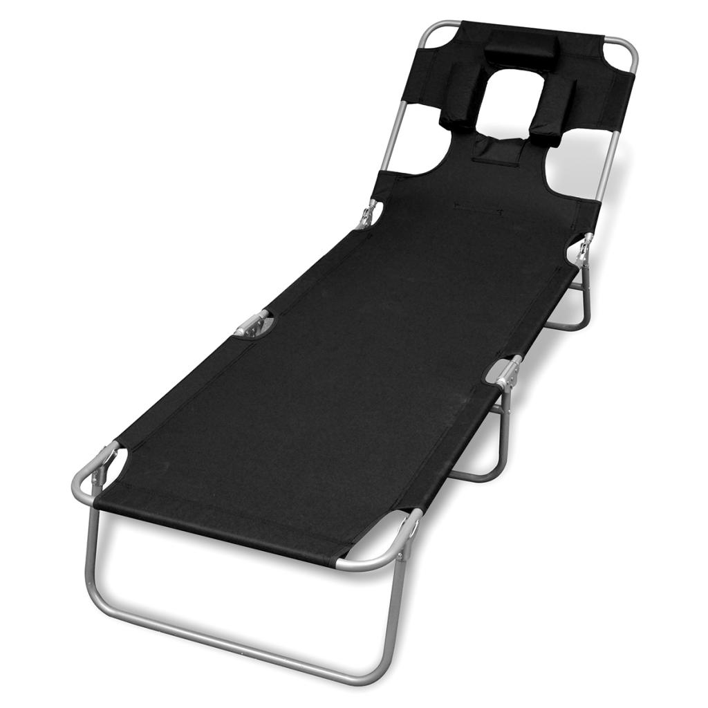 d s chaise longue pliable avec t te coussin et dossier ajustable noire. Black Bedroom Furniture Sets. Home Design Ideas