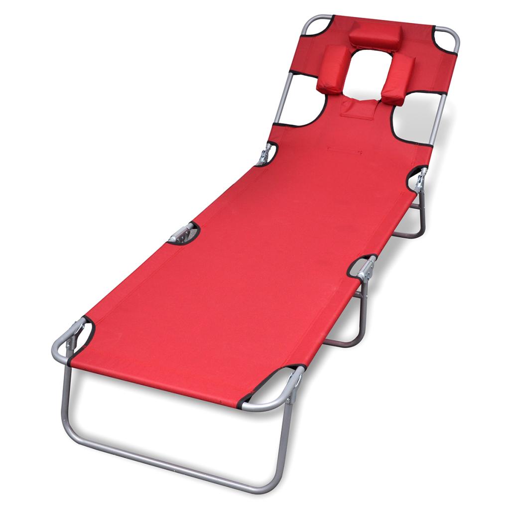 d s chaise longue pliable avec t te coussin et dossier ajustable rouge. Black Bedroom Furniture Sets. Home Design Ideas