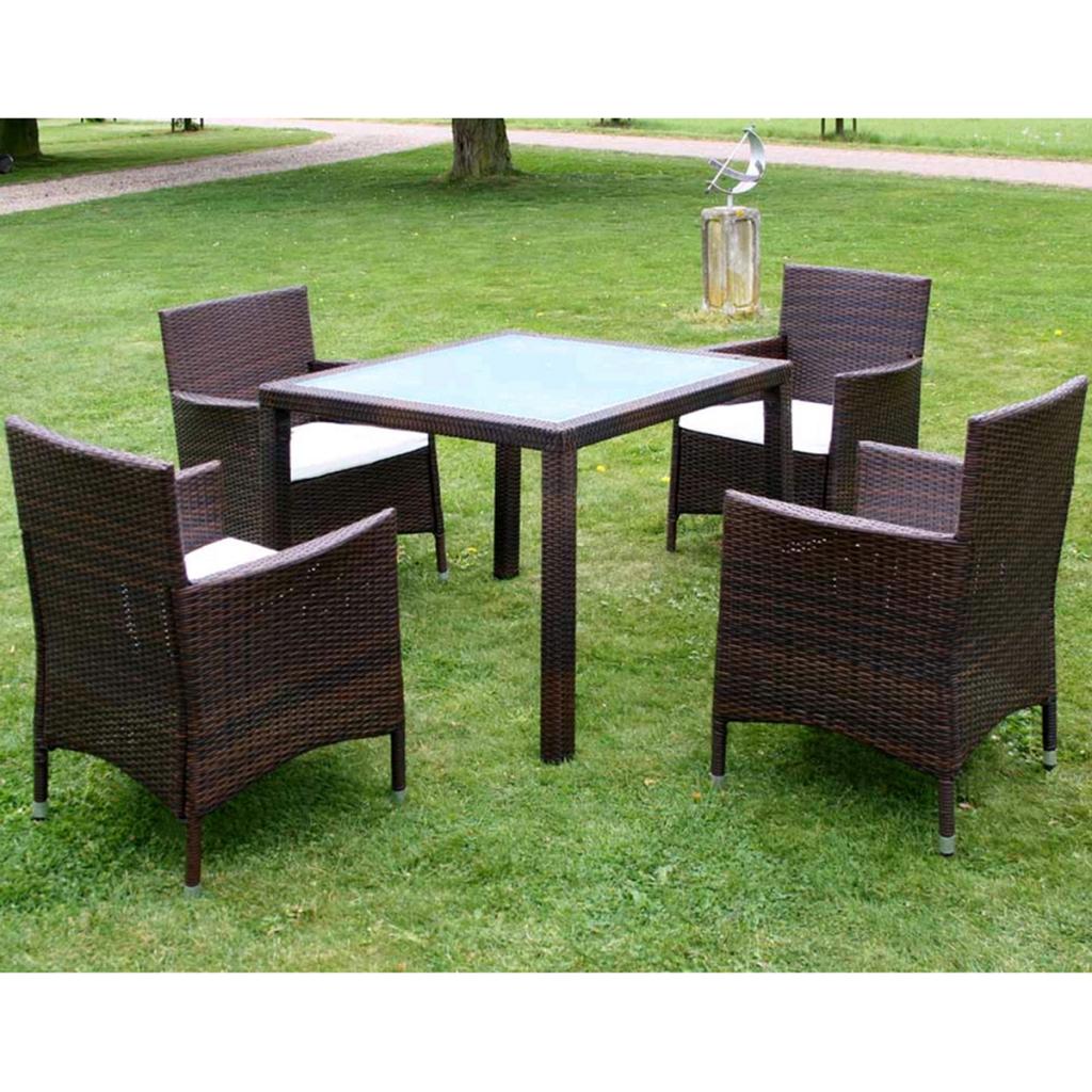 ensemble salle manger ext rieur 4 personnes en rotin marron. Black Bedroom Furniture Sets. Home Design Ideas