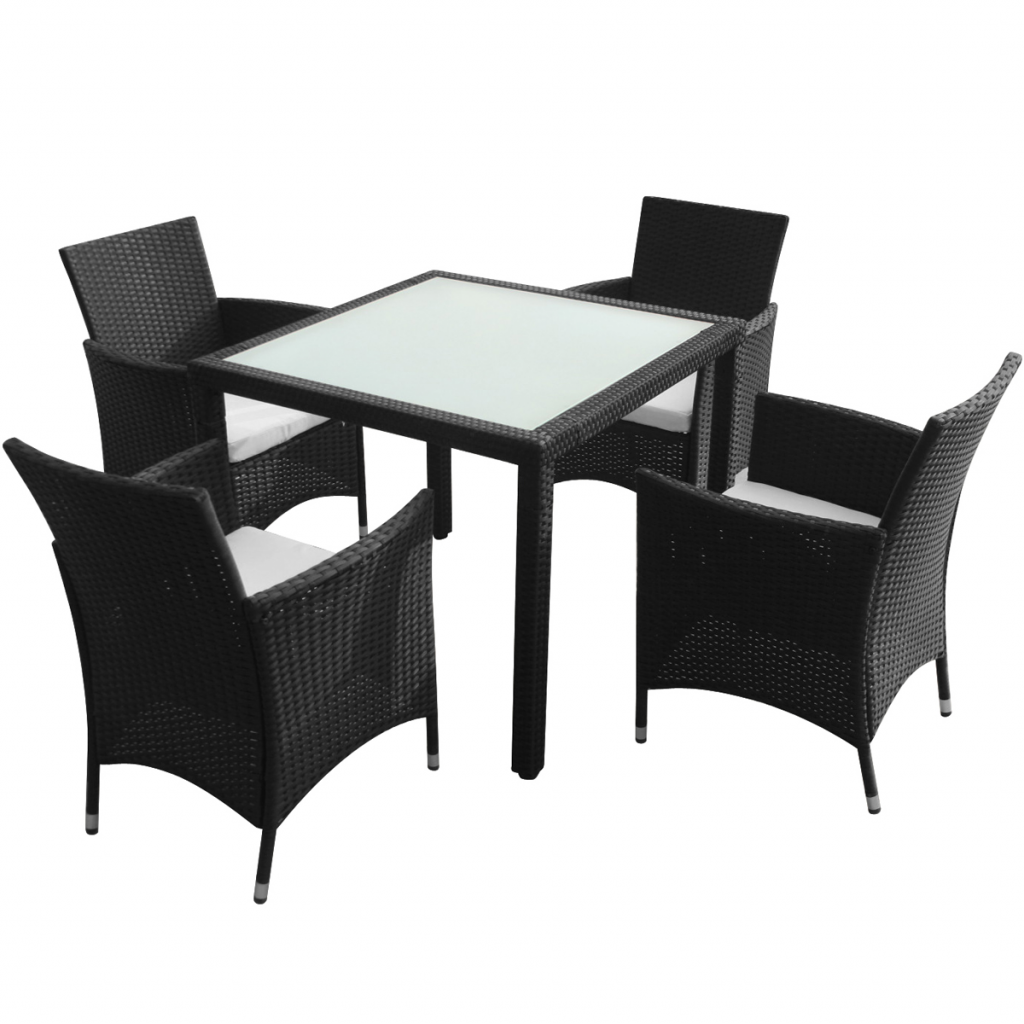 ensemble de jardin table et 4 chaises en polyrotin interougehome. Black Bedroom Furniture Sets. Home Design Ideas