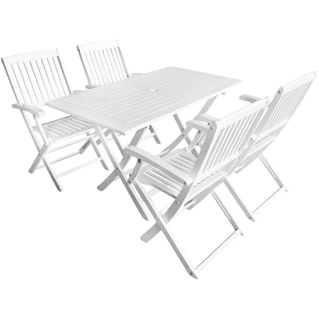 Ensemble de table et chaises de jardin 4 personnes en bois for Ensemble table chaise jardin