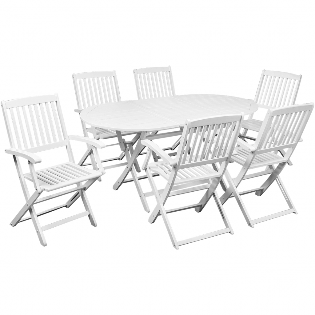 Table manger avec six chaises d 39 ext rieur blanc bois d for Table a manger avec chaise