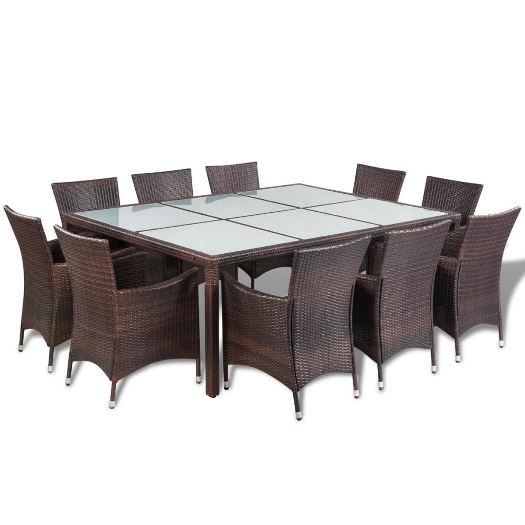 ensemble salle manger ext rieur 10 personnes en rotin marron. Black Bedroom Furniture Sets. Home Design Ideas
