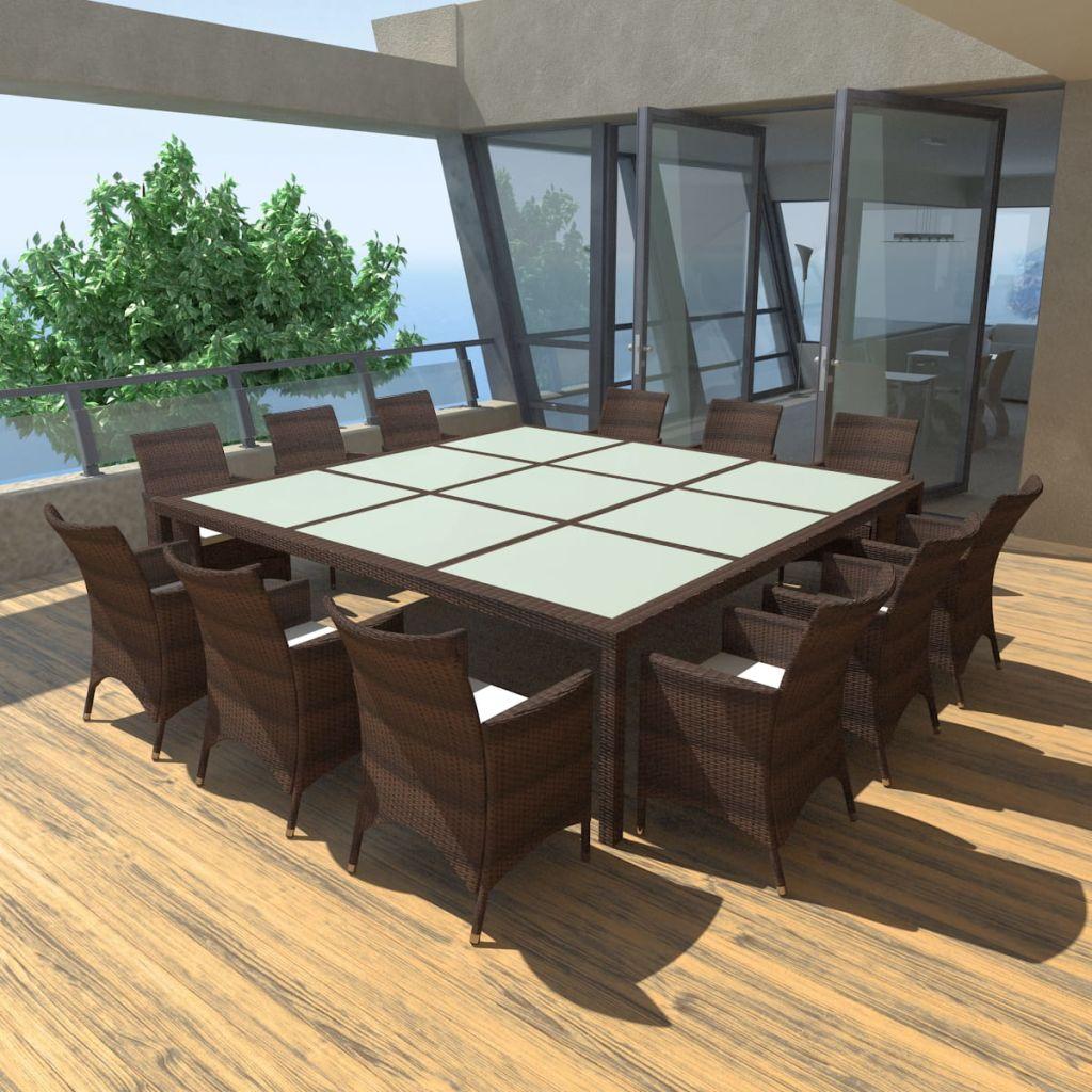 ensemble de jardin pour 12 personnes en rotin marron. Black Bedroom Furniture Sets. Home Design Ideas