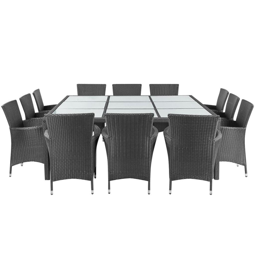 ensemble salle manger ext rieur 12 personnes en rotin noir. Black Bedroom Furniture Sets. Home Design Ideas