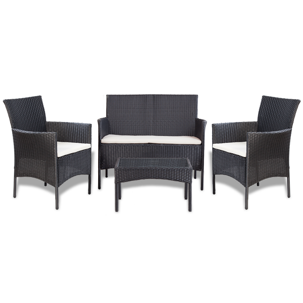 mobilier de jardin poly rotin noir pour 4 personnes. Black Bedroom Furniture Sets. Home Design Ideas