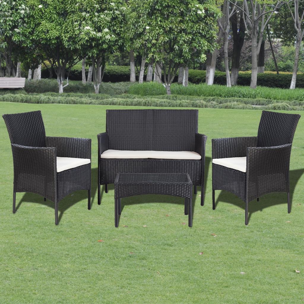 mobilier de jardin poly rotin noir pour 4 personnes. Black Bedroom Furniture Sets. Home Design Ideas