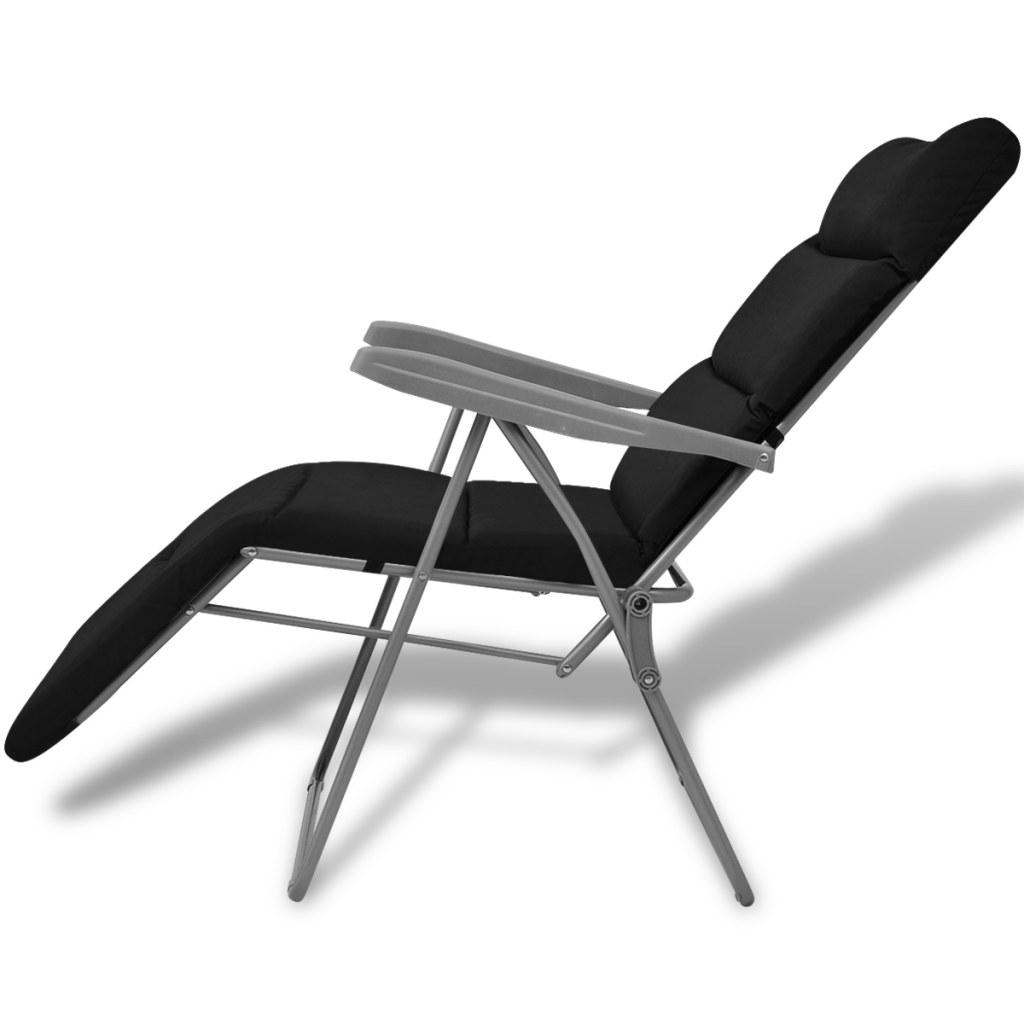 klappbare gartenstuhl mit kissen 2 st ck schwarz. Black Bedroom Furniture Sets. Home Design Ideas