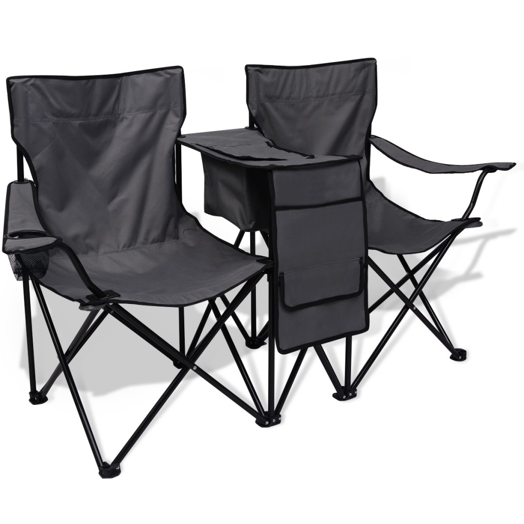 chaise de camping pliante double grise avec porte gobelet et table. Black Bedroom Furniture Sets. Home Design Ideas