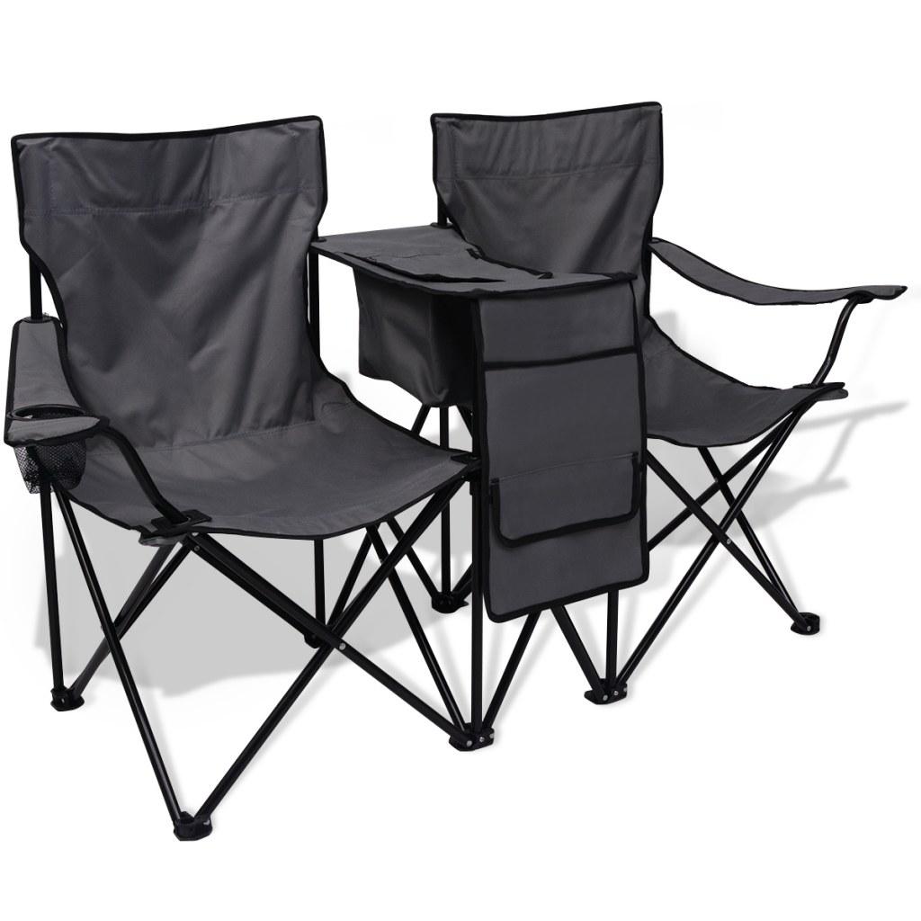 chaise de camping pliante double grise avec porte gobelet et table. Black Bedroom Furniture Sets. Home Design Ideas