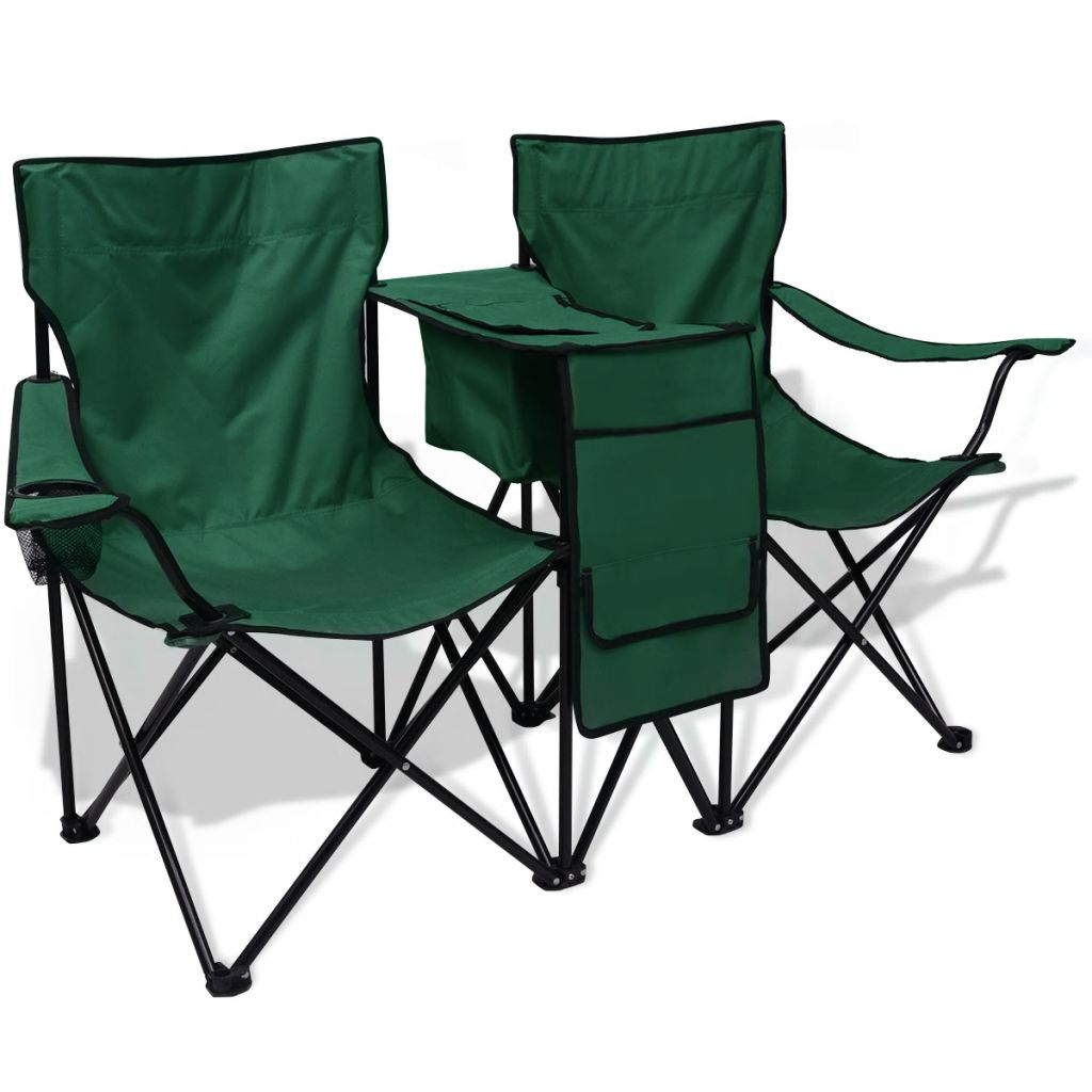 chaise de camping pliante double verte avec porte gobelet et table. Black Bedroom Furniture Sets. Home Design Ideas