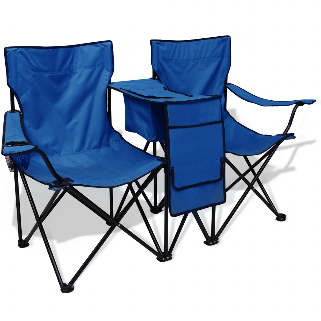 chaise de camping pliante double avec porte gobelet et table bleu. Black Bedroom Furniture Sets. Home Design Ideas