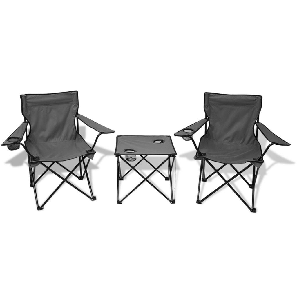ensemble de table et chaises de camping avec 4 porte gabelets gris. Black Bedroom Furniture Sets. Home Design Ideas