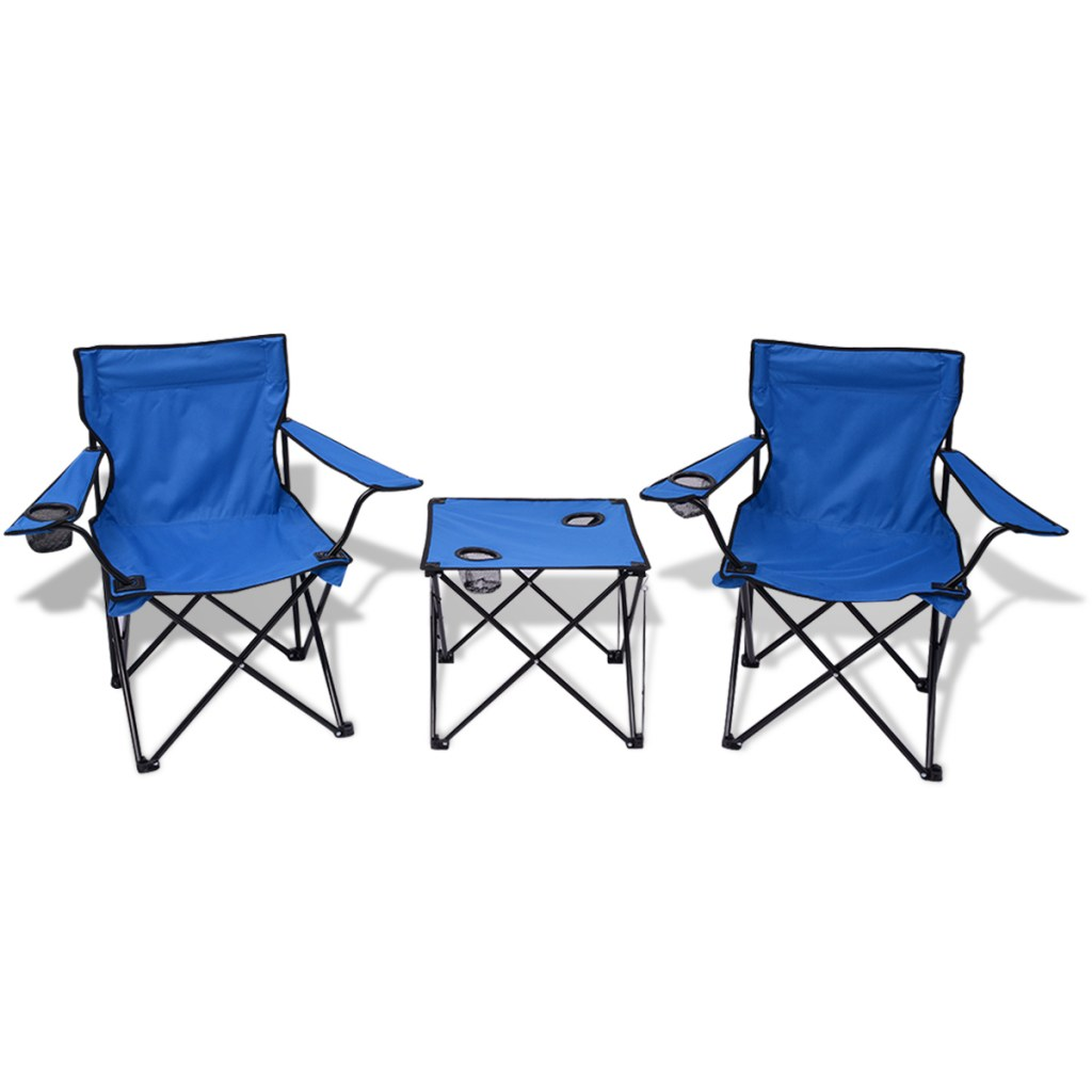 table et 2 chaises de camping bleu. Black Bedroom Furniture Sets. Home Design Ideas