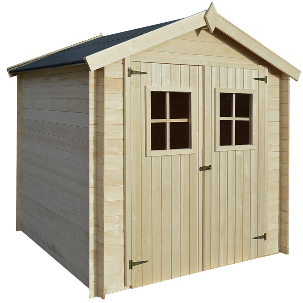 abri de stockage cabane de jardin en bois 2x2 1m avec double fen tre. Black Bedroom Furniture Sets. Home Design Ideas