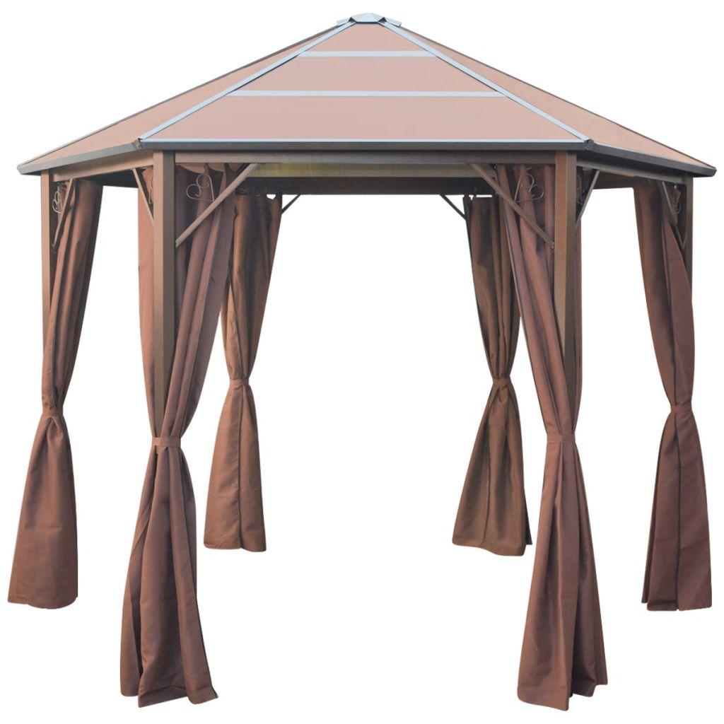 Tonnelle avec rideaux aluminium marron 3.1 x 2.7 x 2.65 m à ...