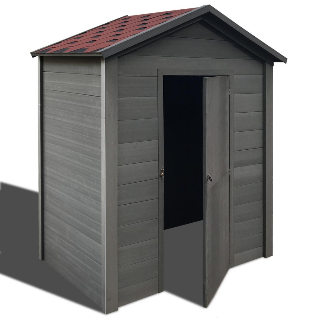 Abri de stockage cabane de jardin en WPC 1.88 x 1.88m gris foncé