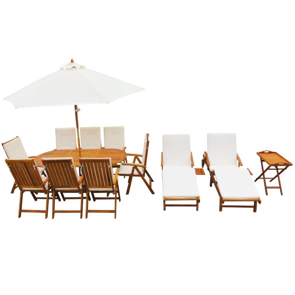 ensemble de salle manger ext rieur 8 personnes avec 2 chaises longue 1 table th 1 parasol. Black Bedroom Furniture Sets. Home Design Ideas
