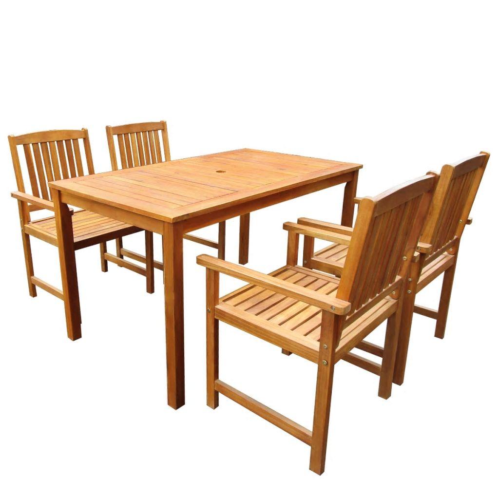 Ensemble De Table Et Chaises Jardin 4 Personnes Acacia Massif