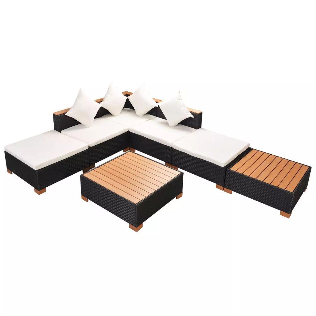 Dès 469.99€, Salon de jardin d\'angle modulable 5 à 8 personnes Rotin  Contreplaqué/WPC Noir - Interougehome.com
