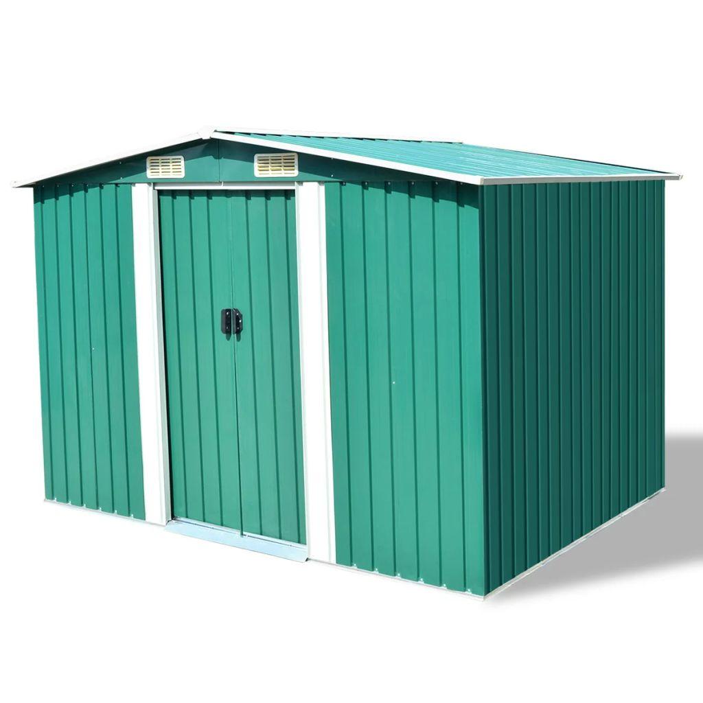 abri de stockage cabanon de jardin en m tal 257 x 205 x 178 cm vert. Black Bedroom Furniture Sets. Home Design Ideas