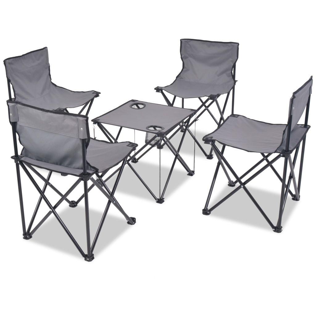 mobilier de camping pliant 4 personnes acier gris seulement sur. Black Bedroom Furniture Sets. Home Design Ideas