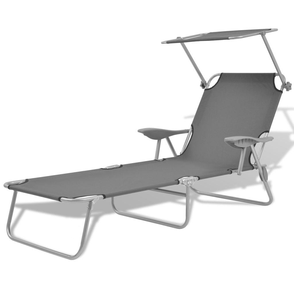 chaise longue de jardin baldaquin acier gris 58x189x27 cm. Black Bedroom Furniture Sets. Home Design Ideas
