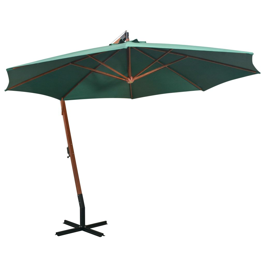 parasol d port inclinable 350cm vert m t en bois seulement sur. Black Bedroom Furniture Sets. Home Design Ideas