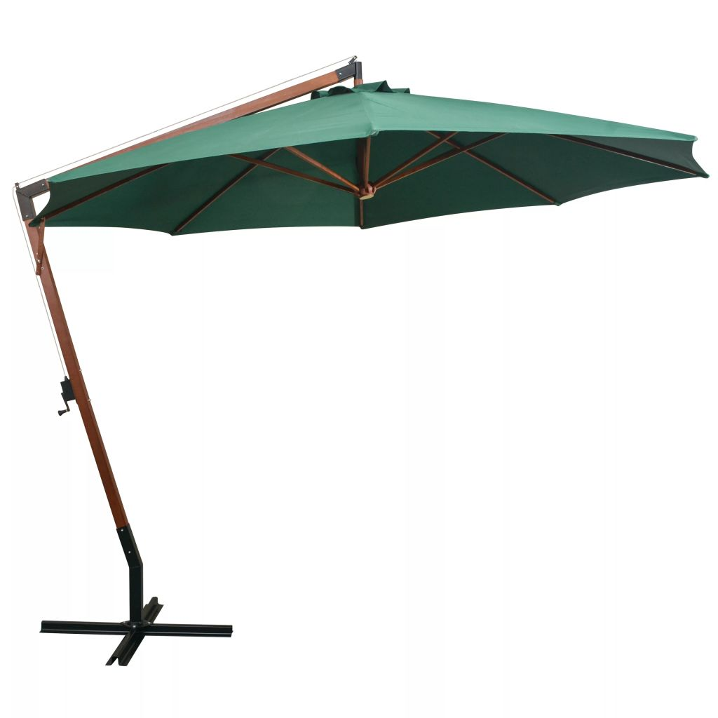parasol d port inclinable 350cm vert m t en bois. Black Bedroom Furniture Sets. Home Design Ideas