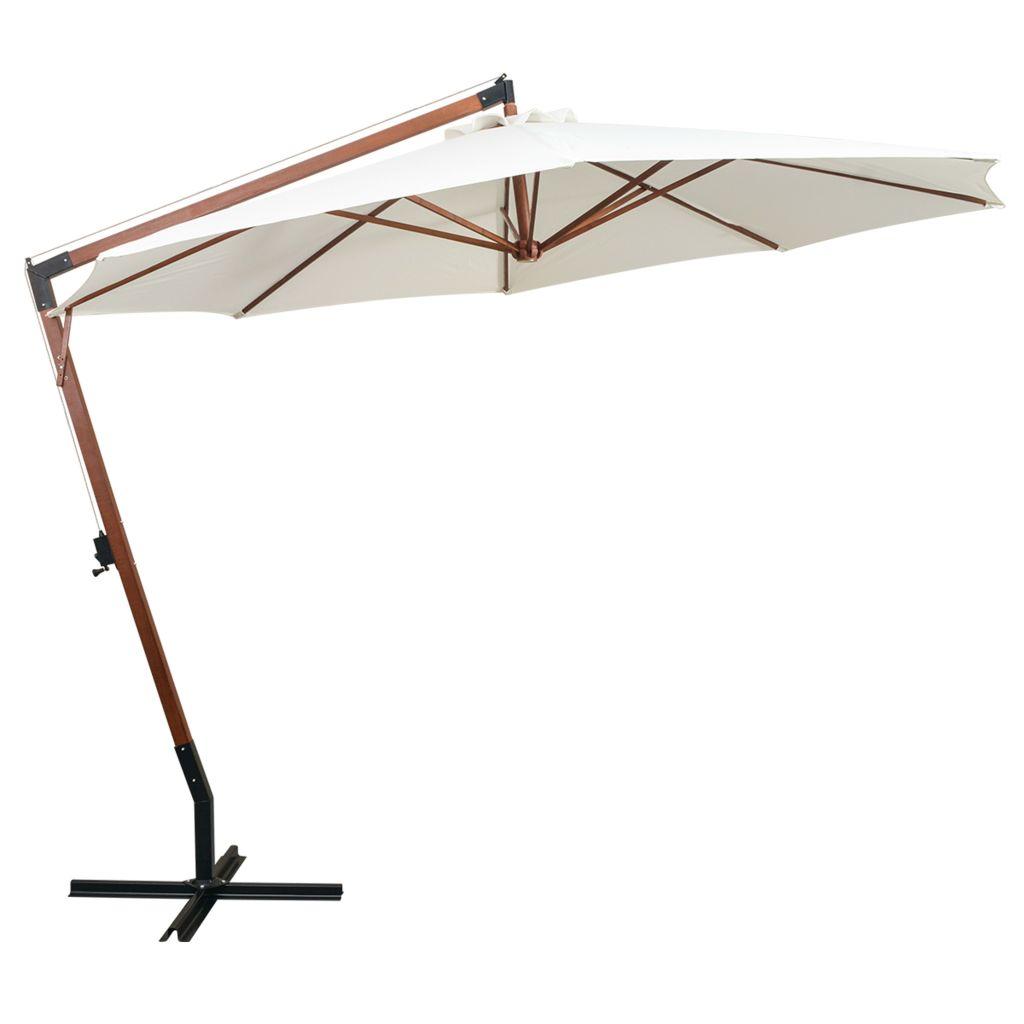 parasol d port inclinable 350cm blanc m t en bois. Black Bedroom Furniture Sets. Home Design Ideas