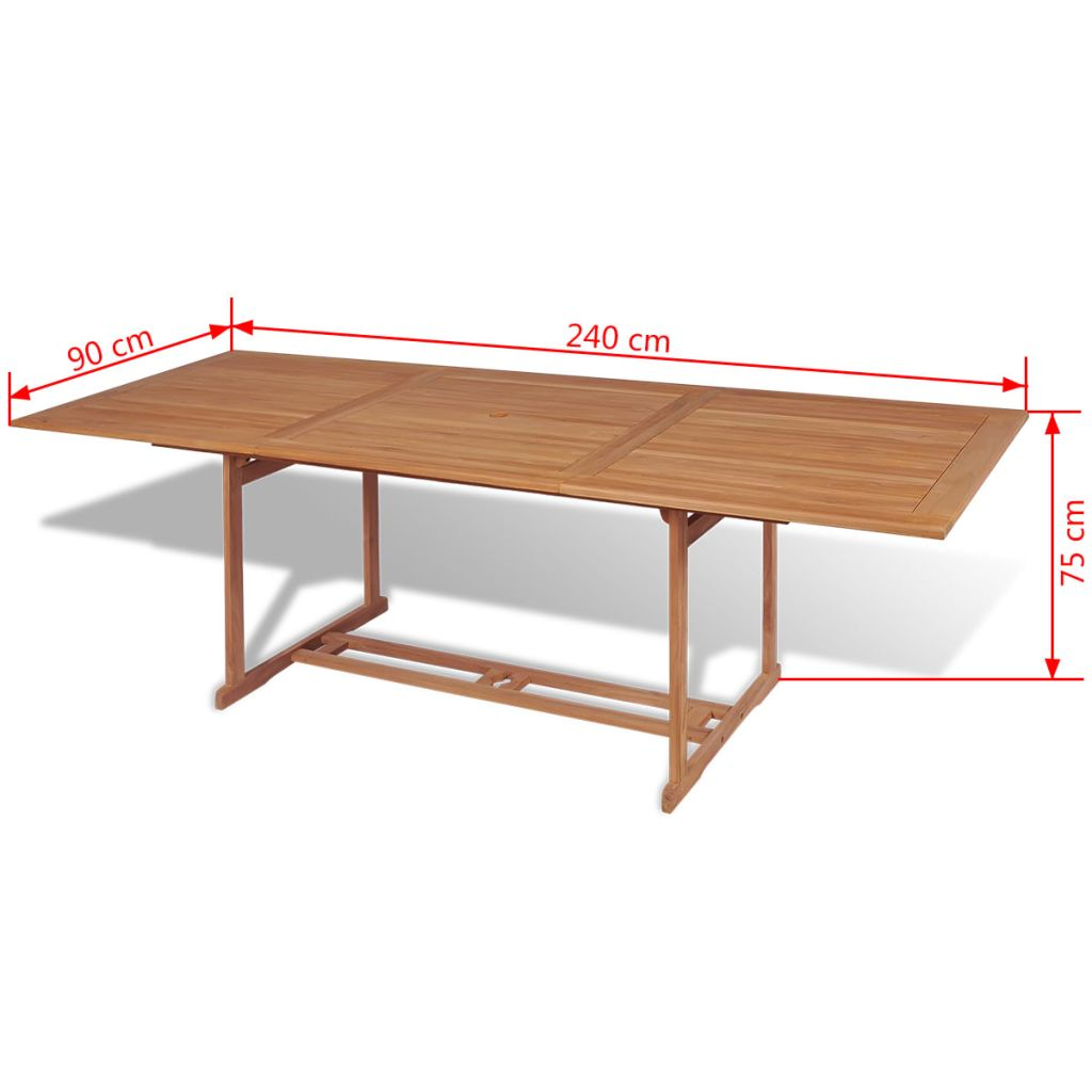 Table manger rectangulaire d 39 ext rieur 240x90x75 cm teck - Table a manger exterieur ...