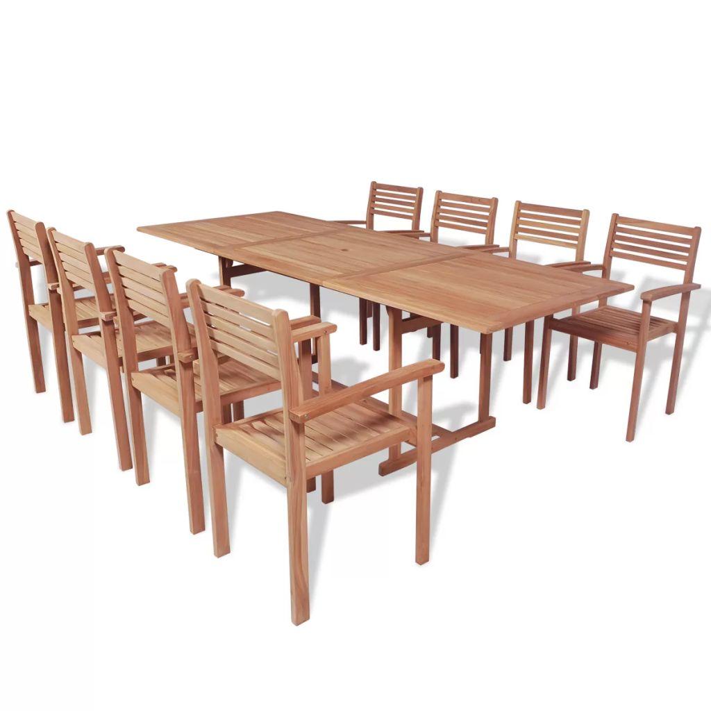 Ensemble de salle manger d 39 ext rieur 9 pcs teck for Ensemble salle a manger teck