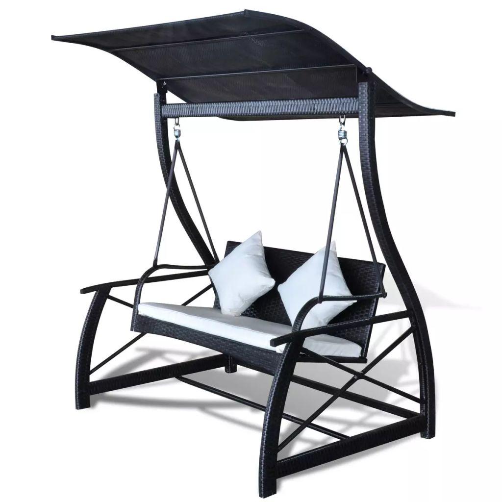 Dès 349.99€, Balancelle de jardin Rotin synthétique - Noir ...