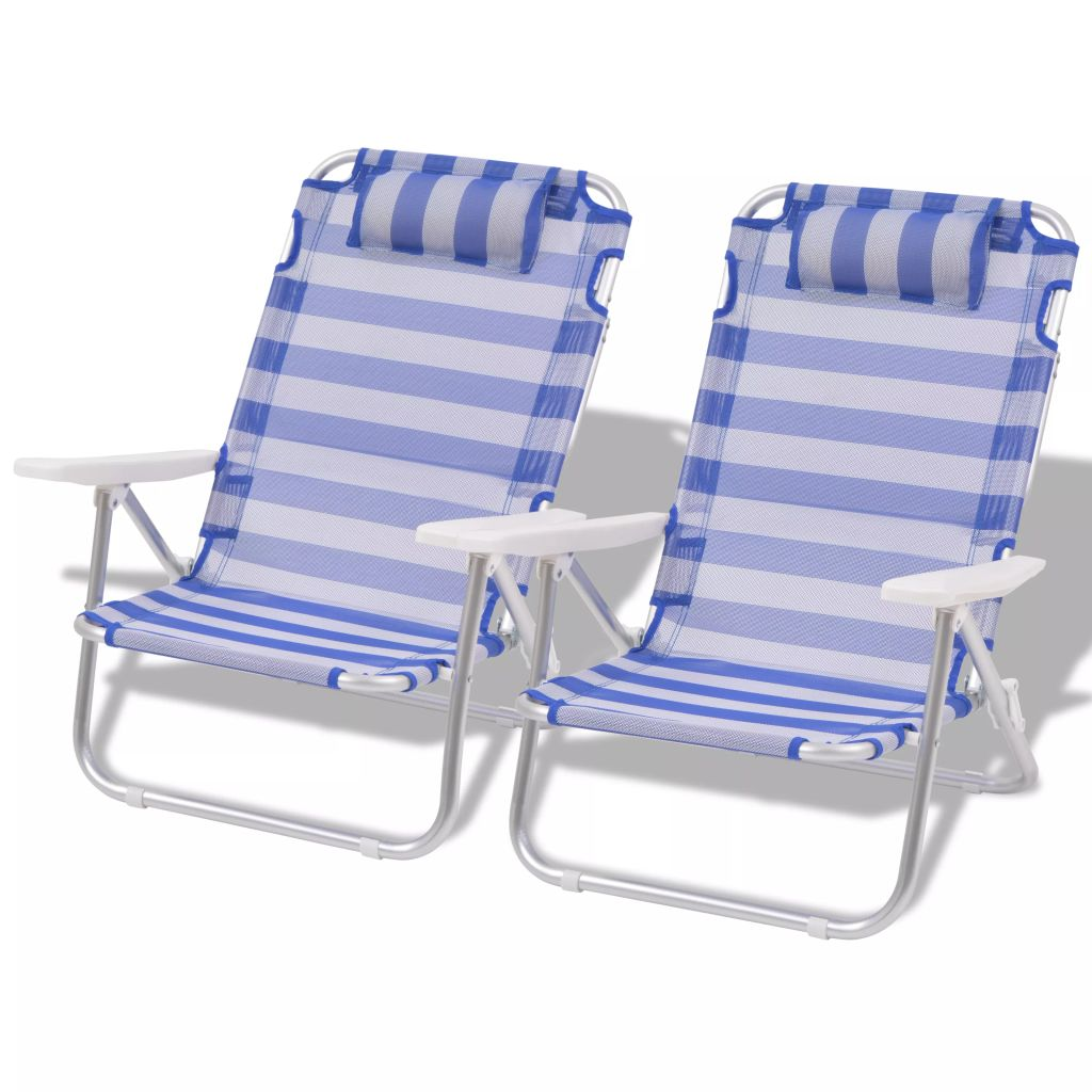 Chaise Pliante De Camping 2 Pcs Bleu Aluminium 100x64x26 Cm