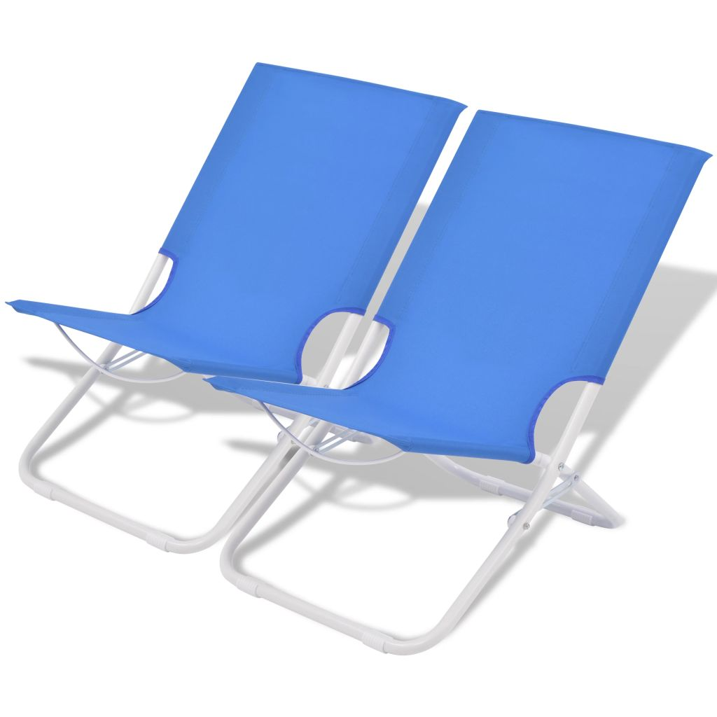 chaise pliante de camping plage 2 pcs bleu acier 48x60x62 cm. Black Bedroom Furniture Sets. Home Design Ideas