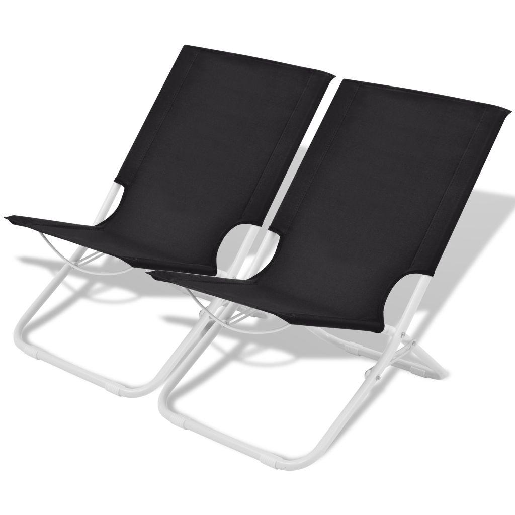 Chaise pliante de camping plage 2 pcs noir acier 48x60x62 cm for Chaise de camping pliante