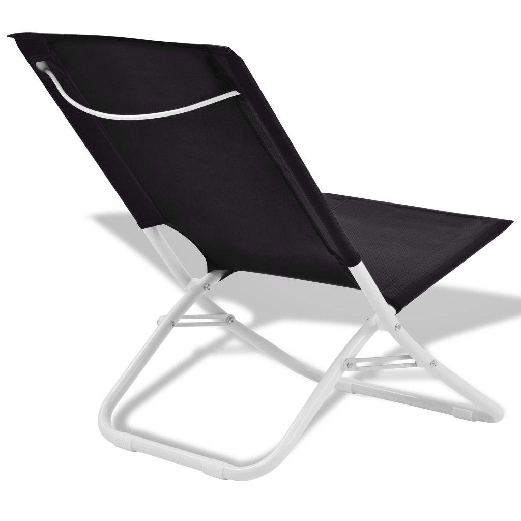 Chaise pliante de camping plage 2 pcs noir acier 48x60x62 cm - Chaise pliante plage ...