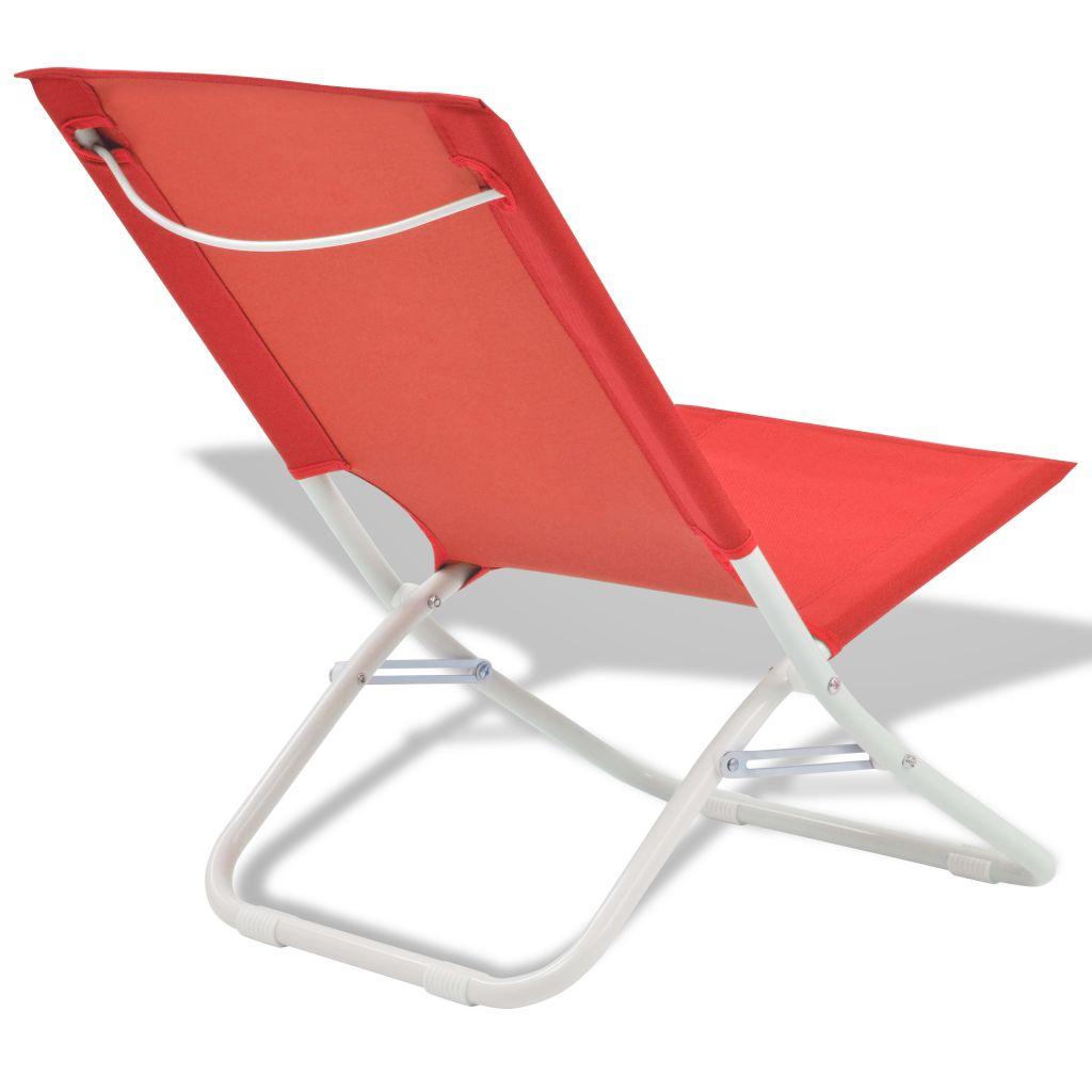 Chaise pliante de camping 2 pcs rouge acier 48 x 60 x 62 cm for Chaise de camping pliante