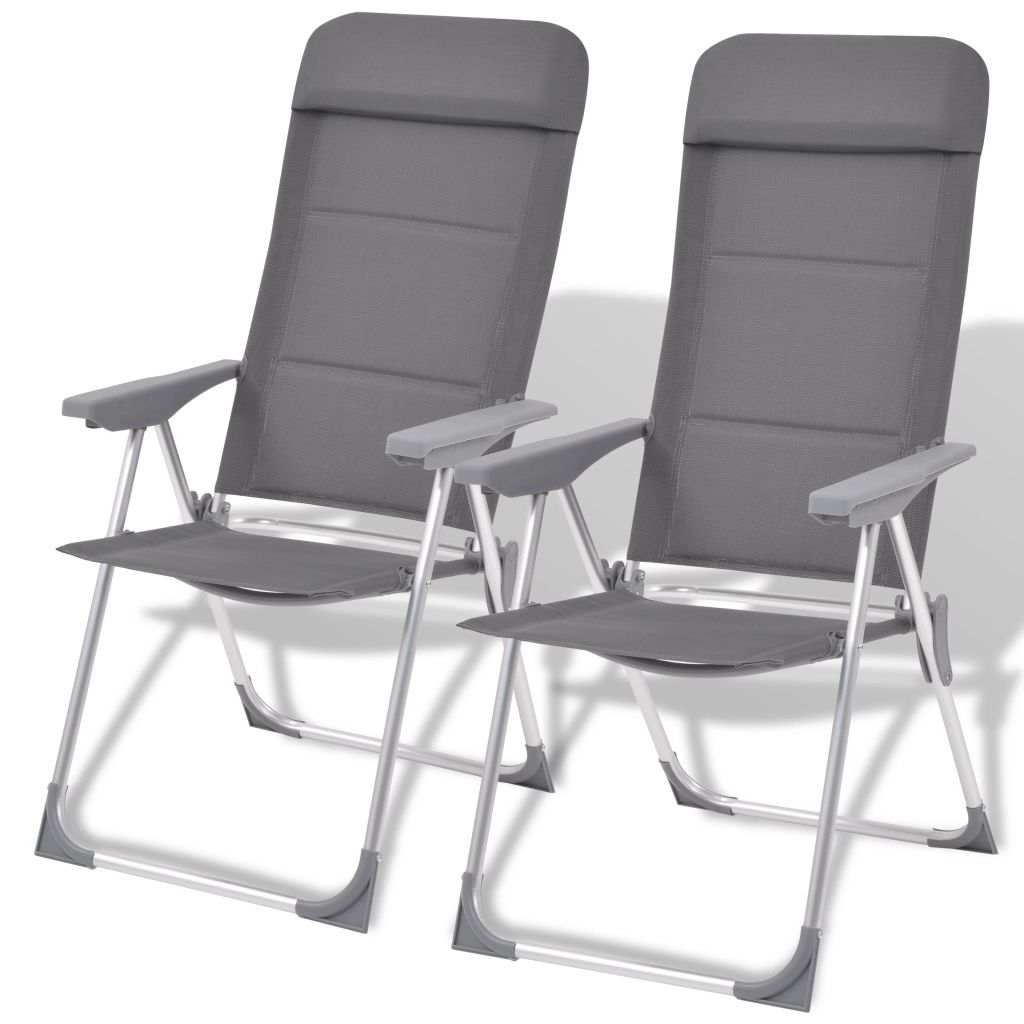 chaise de camping 2 pcs gris aluminium 56 x 60 x 112 cm. Black Bedroom Furniture Sets. Home Design Ideas