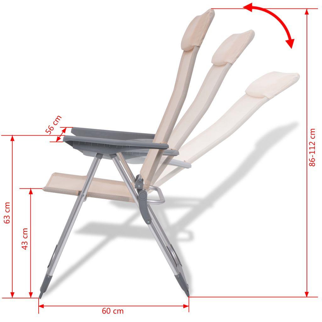 chaise de camping 2 pcs cr me aluminium 56 x 60 x 112 cm. Black Bedroom Furniture Sets. Home Design Ideas
